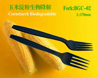 7inch disposable biodegradable eco-friendly black plastic fork cutlery