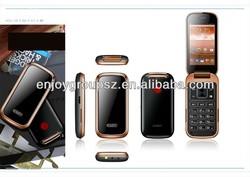 3.2inch android wifi flip dual sim card 3g mobile phone whatsapp flip phone