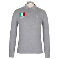 Gray long sleeves high quality 100% combe cotton embroidering t-shirts polo