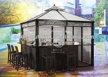 New product outdoor wrought iron rattan bar tent luxury rattan bar gazebo