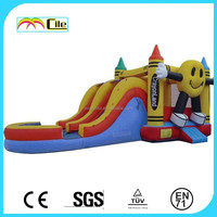 CILE 2015 New Arrival Big Smiley Face Double Lane Inflatable Dry Slide for Fun Park
