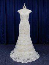 2016 new model dazzling champagne color low back sheath lace wedding dress wholesale