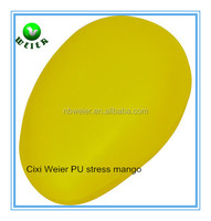 10x6x4.5cm mango shape PU stress ball/soft toy PU foam mango for kids&adults/fruits soft foam PU stress mango