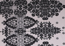 Satin cotton fabric with spandex/flower print/black and white colour/dance garment fabric/