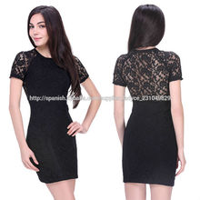 de manga corta de la vaina corto negro patrones para vestidos de encaje de alta calidad
