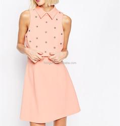 Embellished pink color dress lady floral crop top midi dress HSD3577