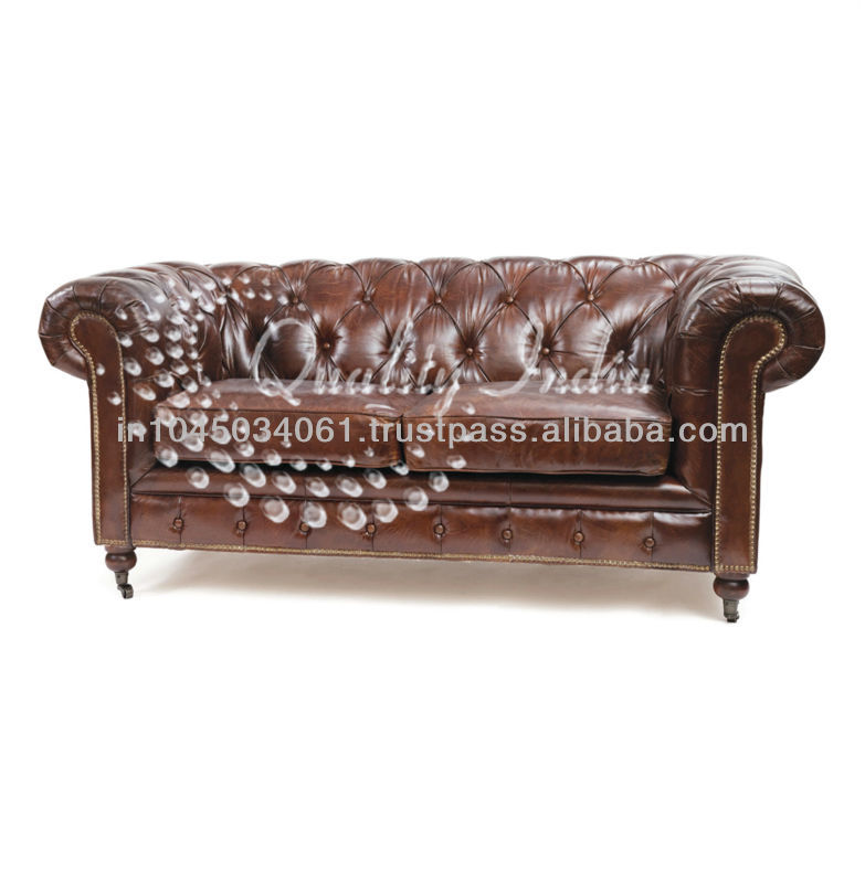 Chesterfield Leather Ethnic Three Seater Sofa