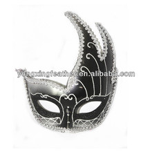 black plain plastic mask with silver braid