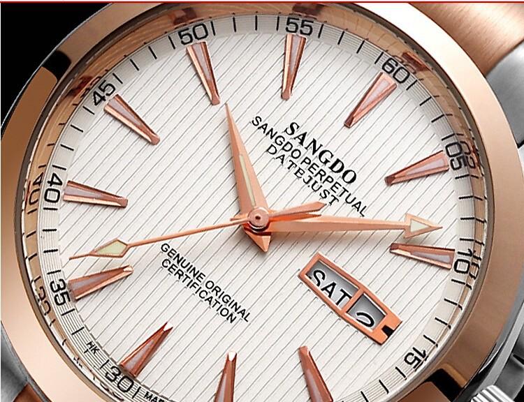 40 мм Sangdo Бизнес смотреть Автоматический Self-ветер движение Из Нержавеющей стали с PVD позолота 0271d