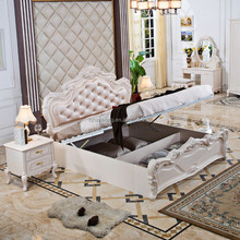 White Romantic High Storage French Classic Furniture Bedroom Set