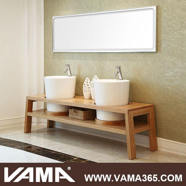 Vama moderne en bois salle de bain vanit lavabo en verre for Lavabo salle de bain en verre