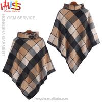 2015 New fashion women's turtleneck plaid patchwork cape coat HSC7941