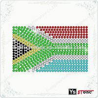 A6043 High quality South African flag iron on rhinestone motif