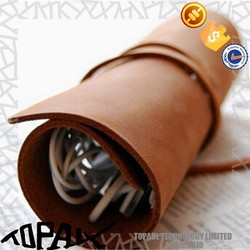Real leather bags for earphone, special design pouch leather bag for Pen