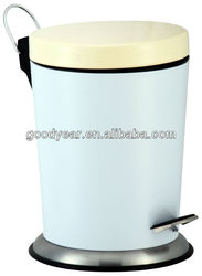 metal trash can with pedal and cover conic shape powder coating white
