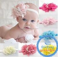 100% handmade big chiffon rosette flower headband with pearl infant newborn headband
