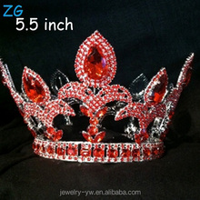 Fashion Red Rhinestone Diamond Wedding Tiara full round pageant crowns for sale