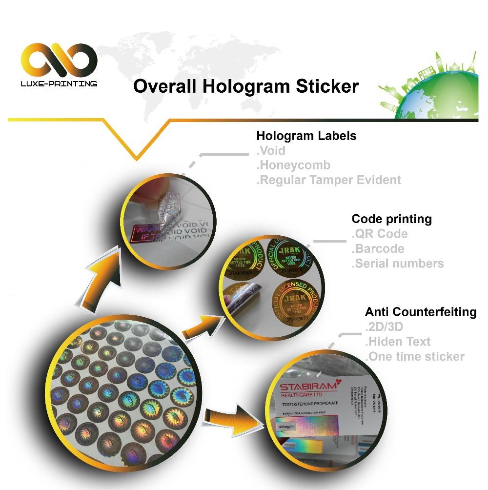 Cheap custom made etiqueta do holograma 3d