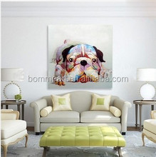 100% Hand painted Oil Paintings Picture Panel Lovely Dog Animal Oil Painting on Canvas for Home Decoration
