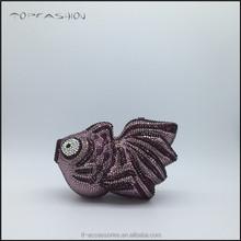 Online animal shape Clutch Style and rhinestone crystal wedding bag Purple fish shape TFC1569