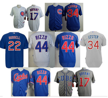 Can Mix Order 2015 Mens Chicago Cubs 44 Anthony Rizzo Jersey White Black Blue Cool Base Stitched Authentic Baseball Jerseys Embr