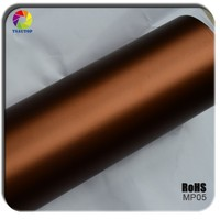 TSAUTOP new style ROHS Certificate 1.52*20m air free bubbles channel coffee matte chrome sticker roll sheet folie