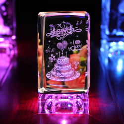 Top Quality 3D Laser K9 Crystal glass Cube for Birthday Gifts