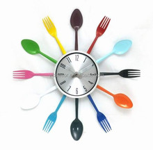 "15"" Colorfull Kitchen Wall Clock with Knife, fork and spoon hands"
