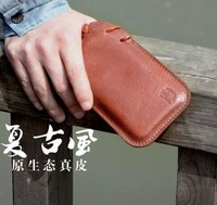 Wholesale Vintage 100% Genuine Leather Full Grain Leather Cowhide Mobile Phone Cell Phone Pouch Case Bag For Iphone 5 5s 5c