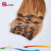 Golden Supplier 100% Remy Human Hair Cuticles Correct Brazilian 150g 7 pieces afro hair clip in extensions