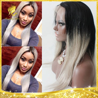 2015 hot selling best quality indian remy gray hair full lace wig with baby hair