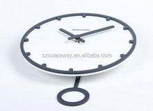 Round Blank Glass Wooden Pendulum digital Wall Clock manufacturer