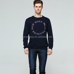 free sample! 2015 new design fashion men's r-neck t-shirt with print CVC 65/35 jurry fabric black color