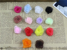 Artificial mini lace rolled rose wedding flowers baby girl hair accessories fabric flowers for decoration
