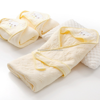 China wholesale supplier white terry applique organic cotton baby hooded bath towel terry towel with dobby