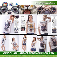QQGY Custom Design / Plain T Shirt 100% Cotton Animal Face T Shirt