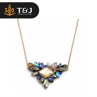 2015 wholesale fashion exquisite thin alloy chain collar necklace rhinestone pendant necklace for women