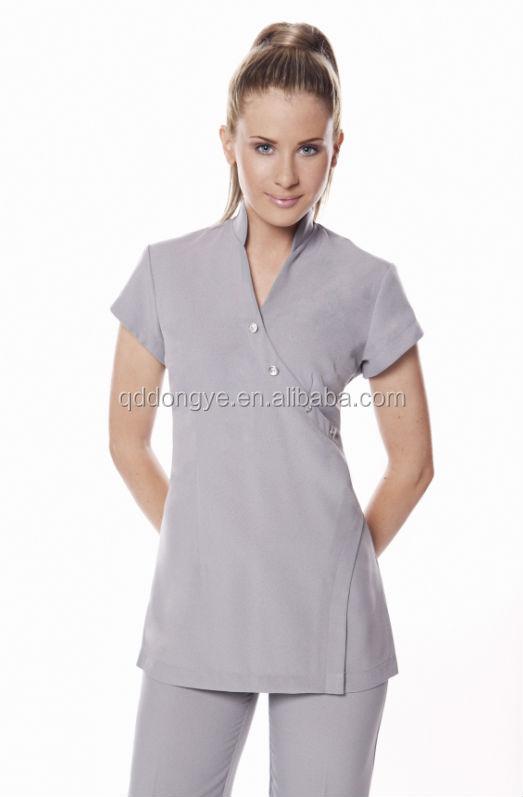 China fashion women spa uniform tunic for Spa employee uniform