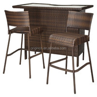 cheap glass top shelves counter and rattan bistro chair or outdoor bar stools china