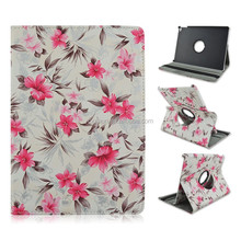 Pink Flowers Cover White Rotating Flip Stand PU Leather Tablet Case For Apple iPad Mini 1/2/3 With Elastic Belt
