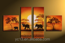 4pcs panel the elephant family group oil painting for hotel decor