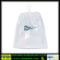 white draw tape bag with blue printing,one color printed plastic drawstring bag