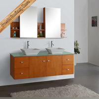 72 Inch antique solid wood bathroom cabinet with towel rack and mirror