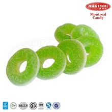 Green ring coated sugar candy confectionery