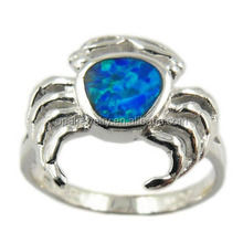 Sea Life Jewelry Animal Crab Australia Fire Opal Real Silver Jewelry Rings Size 5-13