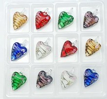 12pcs/box Handmade Gold Sand Heart Lampwork Pendants(LAMP-50X30)
