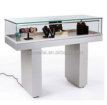 White Glass jewelry display showcase, Semi-Gloss Silver Jewelry Display Case with Hydraulic Lift Opening