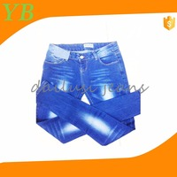 OEM ladies jeans cheap price high elastic denim pants