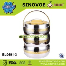 Ningbo sinovoe BL0691 golden and silver 4.5L ABS thermal food container