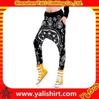 Custom stylish comfortable loose polyester full printing drop crotch pants harem pants harem pant